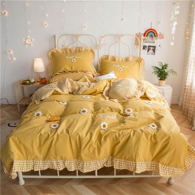 2020新款春夏新品-太阳花四件套 1.2m床单款三件套 太阳花-黄色