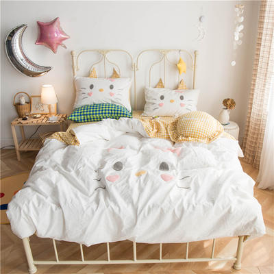 2020春夏新款水洗棉小猫系列四件套 1.2m床单款三件套 小猫白色