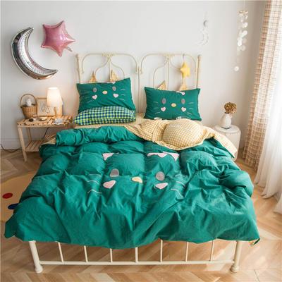 2020春夏新款水洗棉小猫系列四件套 1.2m床单款三件套 小猫绿色