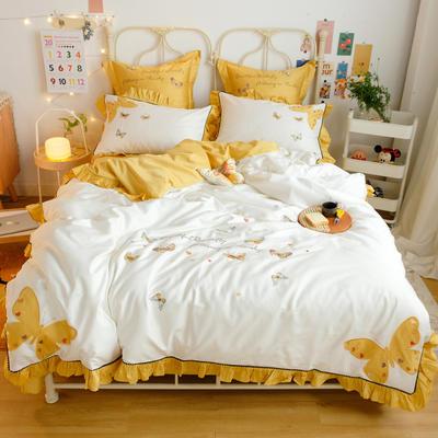 2020新款60S埃及长绒棉系列四件套 1.5m床单款四件套 蝴蝶-白