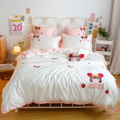 2020新款60S埃及长绒棉系列四件套 1.5m床单款四件套 小丸子-白