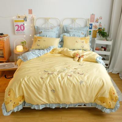 2020新款60S埃及长绒棉系列四件套 1.5m床单款四件套 蝴蝶-黄