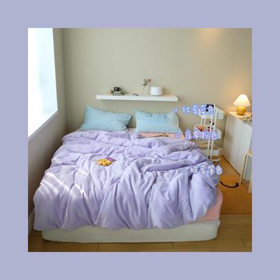 2020新款牛奶绒混搭风系列四件套 1.5m床单款四件套 紫