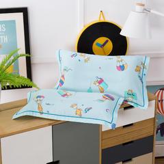 多米兔婴童用品儿童枕 天丝枕套 30*50CM  森林物语  蓝