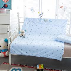 多米兔婴童用品儿童套件 儿童绣针织两件套 110*150CM 快乐熊 蓝