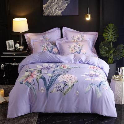 2019新款-全棉磨毛中国风@大阪花卉系列 床单款1.8m(6英尺)床 蓝颜(紫)