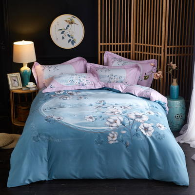 2019新款-全棉磨毛中国风@大阪花卉系列 床单款1.8m(6英尺)床 玛利亚(绿)