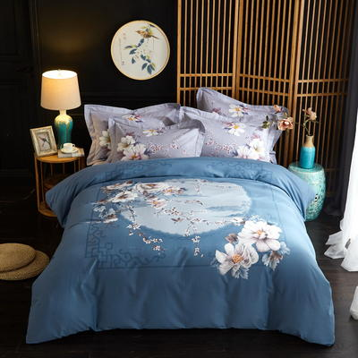 2019新款-全棉磨毛中国风@大阪花卉系列 床单款1.8m(6英尺)床 倾城(兰)