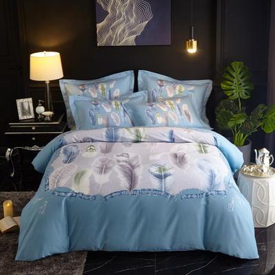 2019新款-全棉磨毛中国风@大阪花卉系列 床单款1.8m(6英尺)床 追风之羽(蓝)