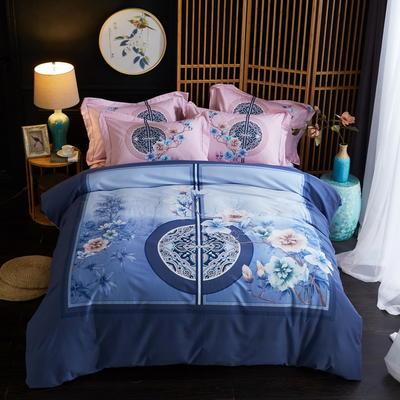 2019新款-全棉磨毛中国风@大阪花卉系列 床单款1.8m(6英尺)床 醉清风