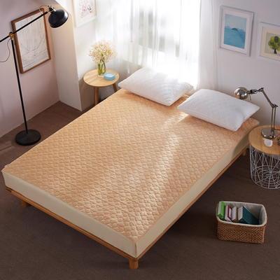 水晶绒夹棉床笠 絎绣加厚 席梦思保护垫 1.2m(4英尺)床 驼色