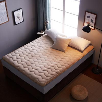 2018年爆款 法莱绒多针加厚 波浪 床垫床褥单人双人 90X200CM 驼色