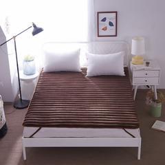 【垫之坊床垫供货】法莱绒条状加厚保护垫防滑床褥子单人双人 0.9*2.0米 深咖
