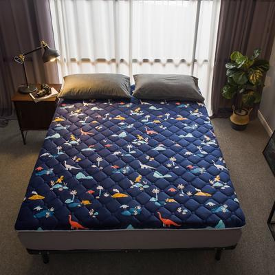 法莱绒印花床垫秋冬新款床垫床褥子地垫席梦思保护垫 0.9*2.0米 恐龙蓝