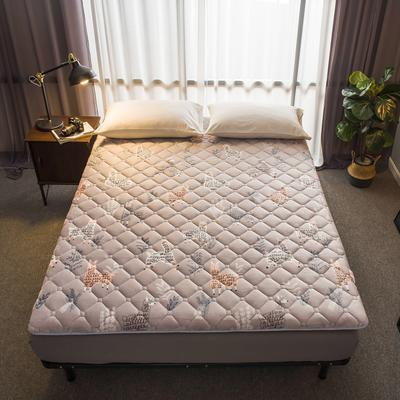 法莱绒印花床垫秋冬新款床垫床褥子地垫席梦思保护垫 0.9*2.0米 羊驼米