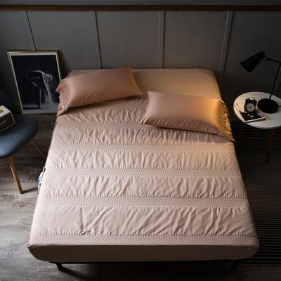 全棉英威达抗菌纤维 夹棉床笠 单品 加厚席梦思保护垫 120cmx200cm 驼色
