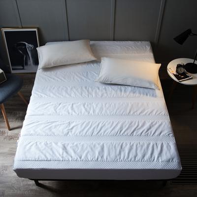 全棉英威达抗菌纤维 夹棉床笠 单品 加厚席梦思保护垫 120cmx200cm 白色