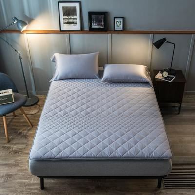 全棉英威达抗菌防螨纤维填充加厚床垫床褥子 斜纹纯棉面料1.2 1.5m 1.8米 0.9*2.0米 蓝绿色