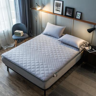 全棉英威达抗菌防螨纤维填充加厚床垫床褥子 斜纹纯棉面料 90x190cm 灰色