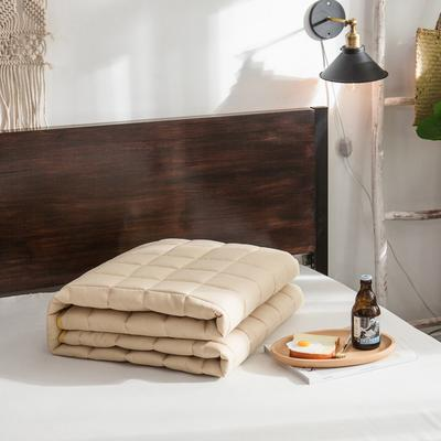 【垫之坊新品】纯色 方格多针絎绣床护垫加厚席梦思保护垫床褥子 0.9*2.0米 驼色