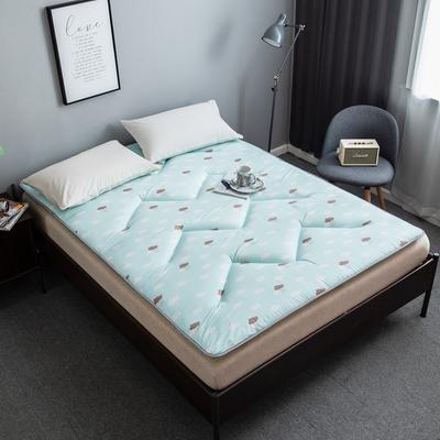 2019年新款4CM厚度W绗缝款印花磨毛床垫榻榻米学生垫子 90X200CM 云朵