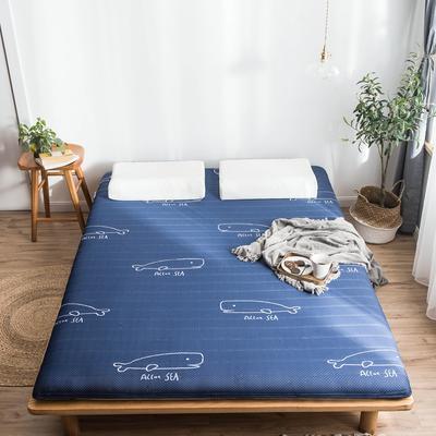 2019年新款乳胶床垫记忆高回弹床垫防塌陷垫加厚地垫6cm10cm 180X200CM 6CM蓝色鲸鱼