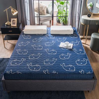 法萊絨立體印花床墊5D透氣底部加厚保暖1.5 1.8米雙人加大 0.9*2.0米 鯨魚(5cm)