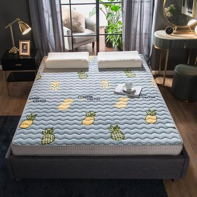 法萊絨立體印花床墊5D透氣底部加厚保暖1.5 1.8米雙人加大 0.9*2.0米 菠蘿(5cm)