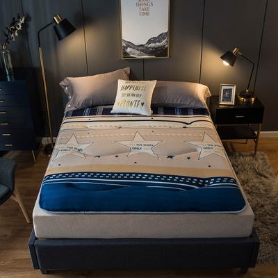 特价爆款推荐法莱绒印花防滑床垫加厚4-5cm床褥单人双人 0.9*2.0米 星辰