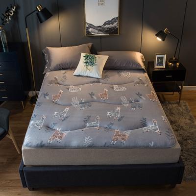 特价爆款推荐法莱绒印花防滑床垫加厚4-5cm床褥单人双人 0.9*2.0米 羊驼灰