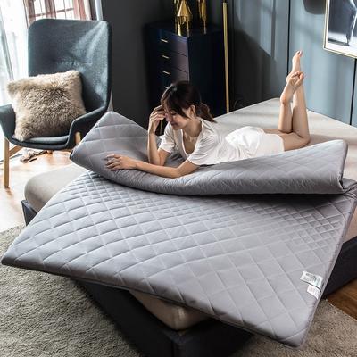 全棉英威达抗菌防螨纤维填充加厚床垫床褥子 斜纹纯棉面料 100x200cm 灰色