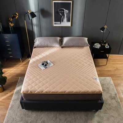 全棉英威达抗菌防螨纤维填充加厚床垫床褥子 斜纹纯棉面料 150x200cm 驼色
