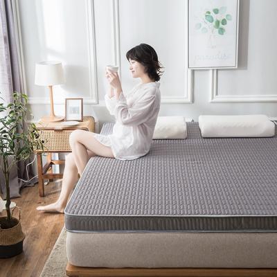 2020春夏新款冰丝乳胶凉感记忆海绵床垫加厚透气防滑高回弹 90*190cm 绅士灰9cm