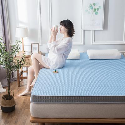 2020春夏新款冰丝乳胶凉感记忆海绵床垫加厚透气防滑高回弹 90*190cm 钻石蓝9cm