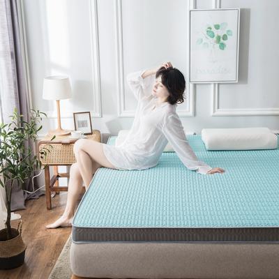 2020春夏新款冰丝乳胶凉感记忆海绵床垫加厚透气防滑高回弹 90*190cm 翡翠绿9cm