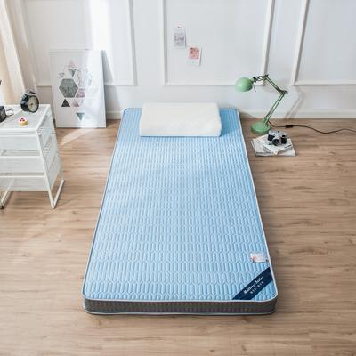 2020春夏新款冰丝乳胶凉感记忆海绵床垫加厚透气防滑高回弹单人学生 90*190cm 钻石蓝5cm