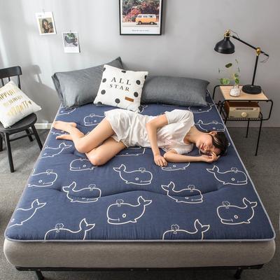 2020春款四季印花床垫床褥床护垫榻榻米垫磨毛加厚 90*200cm 鲸鱼4cm