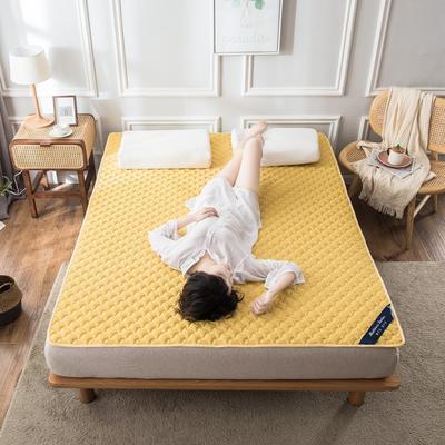 2020年新款針織乳膠床護墊防滑席夢思保護墊榻榻米墊 0.9*2.0米 黃色