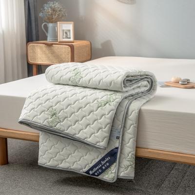 2020年新款針織乳膠床護墊防滑席夢思保護墊榻榻米床墊 0.9*2.0M 竹葉白