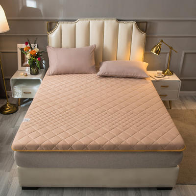 2021新款全棉抗菌防螨加厚床垫系列单人双人 0.9*2.0m 4.5CM驼色