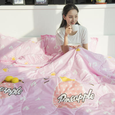 水洗棉夏被四件套 单枕套48*74cm 粉菠萝