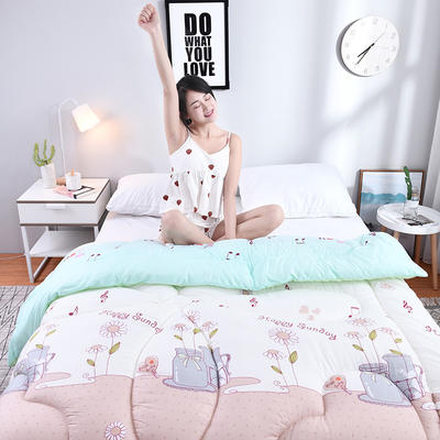 芦荟棉冬被 150x200cm  2斤 音符(模特图)