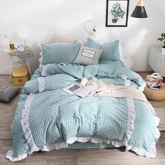 2018新款-公主风色织水洗棉四件套 1.5m(5英尺)床 水洗棉豆沙绿