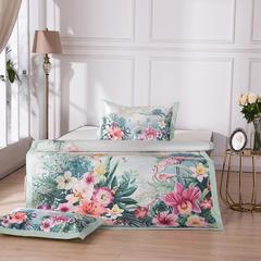 新品上市数码印花冰丝凉席三件套欧式宽边双人床空调软席 1.5m(5英尺)床 春雨雨境