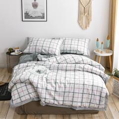 秋冬新款工艺款全棉印花三件套单人纯棉床上用品床单被套 1.2m(4英尺)床 时尚格纹