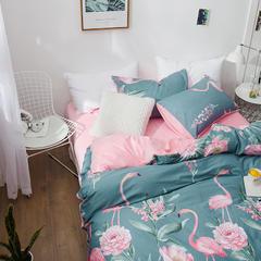 (总)秋冬新品全棉水晶绒四件套纯棉加绒保暖双人床品可定做床笠 1.2m(4英尺)床 火烈鸟