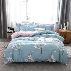 2019年新款全棉128x68四件套纯棉斜纹双人床上用品套件 1.5m(5英尺)床 春风里