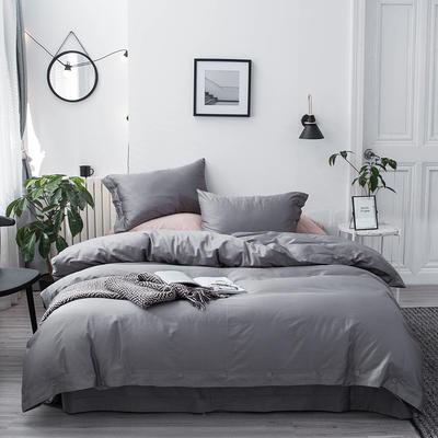 長絨棉60S支全棉紐扣款純色四件套2019新品床單款 1.5m(5英尺)床 冰川銀