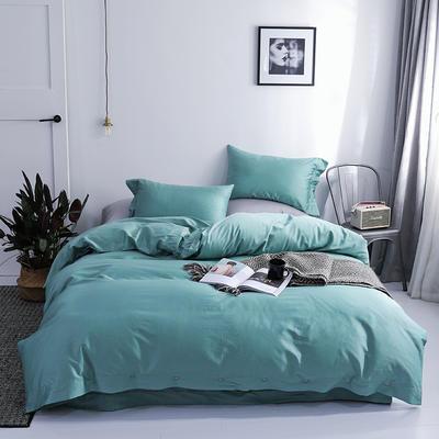 長絨棉60S支全棉紐扣款純色四件套2019新品床單款 1.5m(5英尺)床 淡雅綠