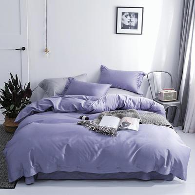 長絨棉60S支全棉紐扣款純色四件套2019新品床單款 1.5m(5英尺)床 丁香紫